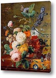 Кошница с цветя и пеперуди