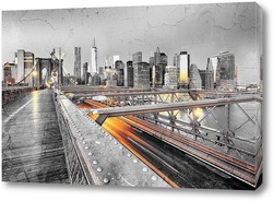 Постер Нью-Йорк с Бруклинским мостом