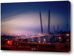 Постер Ночной пейзаж с видом на Золотой мост во Владивостоке