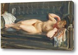 Картина На серо-голубом кожаном диване