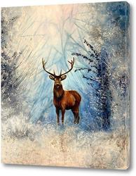 Постер Олень в зимнем лесу