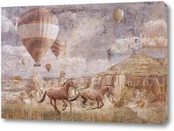 Постер Бегущие лошади