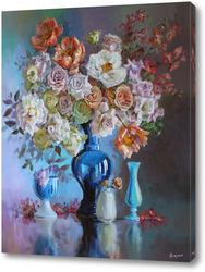 Картина Большой букет из нежных роз