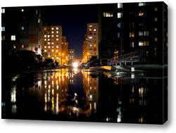 Постер Городской пейзаж ночью.