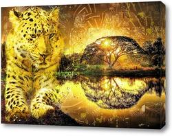 Постер Леопард и закат