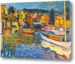 Постер Есенен пейзаж с лодки