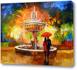 Картина Романтическая встреча у фонтана