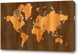 Постер деревянная карта