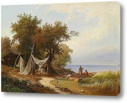 Картина Семья Рыбака на Берегу Женевского Озера