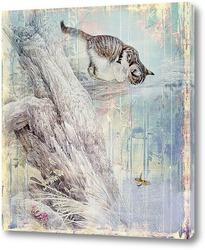 Постер Котенок на дереве
