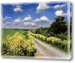 Картина по дороге с облаками