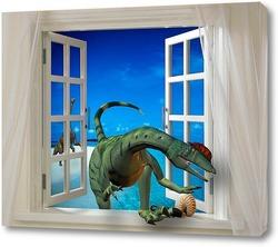 Постер Динозавр в окне