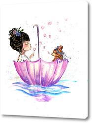 Картина Девочка с зонтиком детство олень
