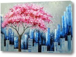 Постер Цветение сакуры в Нью Йорке