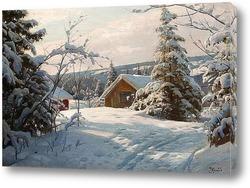Постер Слънчев зимен пейзаж