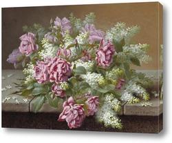 Картина Натюрморт с розовыми розами и сиренью