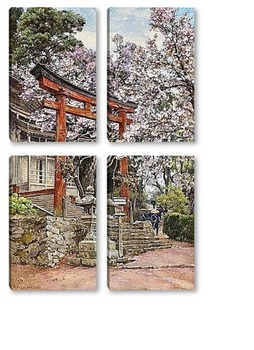 Модульная картина Sakura , храм Yoshino , Япония