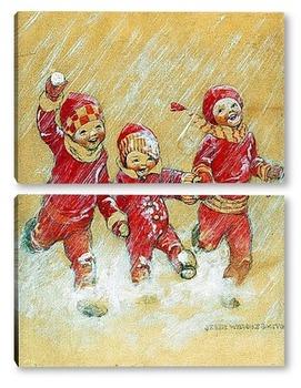 Модульная картина Дети, играющие в снегу