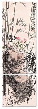 Модульная картина Бамбук и FLOWERS