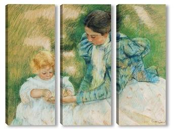 Модульная картина Мама играе с бебето си , 1897