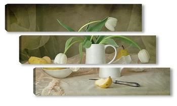 Модульная картина Груши с белыми тюльпанами