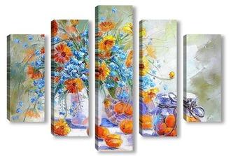 Модульная картина Натюрморт с абрикосами и незабудками