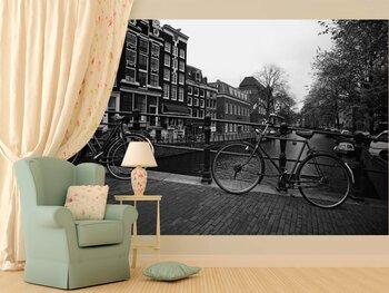 Фотообои Велосипеды на стоянке у моста через реку
