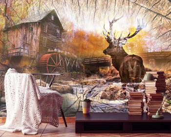 Фотообои Хижина и олень