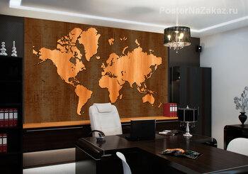 Фотообои деревянная карта