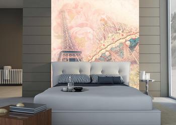 Фотообои Винтажная карусель и Эйфелева башня